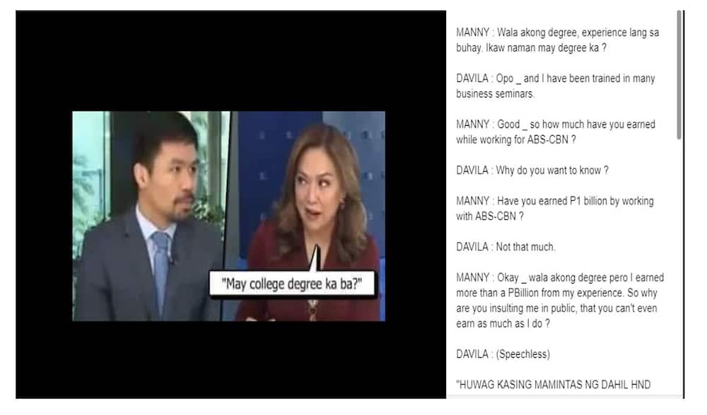 Fact check: Did Manny Pacquiao belittle the earnings of Karen Davila as journalist?