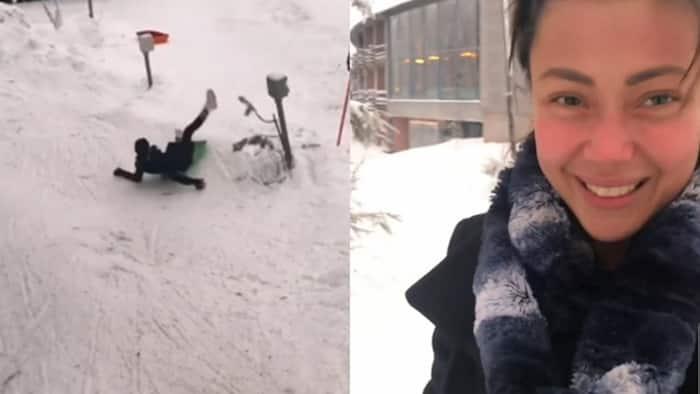 Jodi Sta. Maria, tinulak ng malakas ni Thirdy Lacson sa snow slide sa viral video