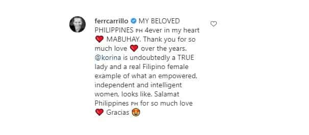 Fernando Carillo finally posts about Korina Sanchez after courtship revelation