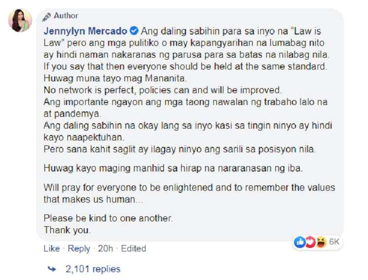 Jennylyn Mercado sinupalpal ang netizens na nagbubunyi sa sinapit ng ABS-CBN