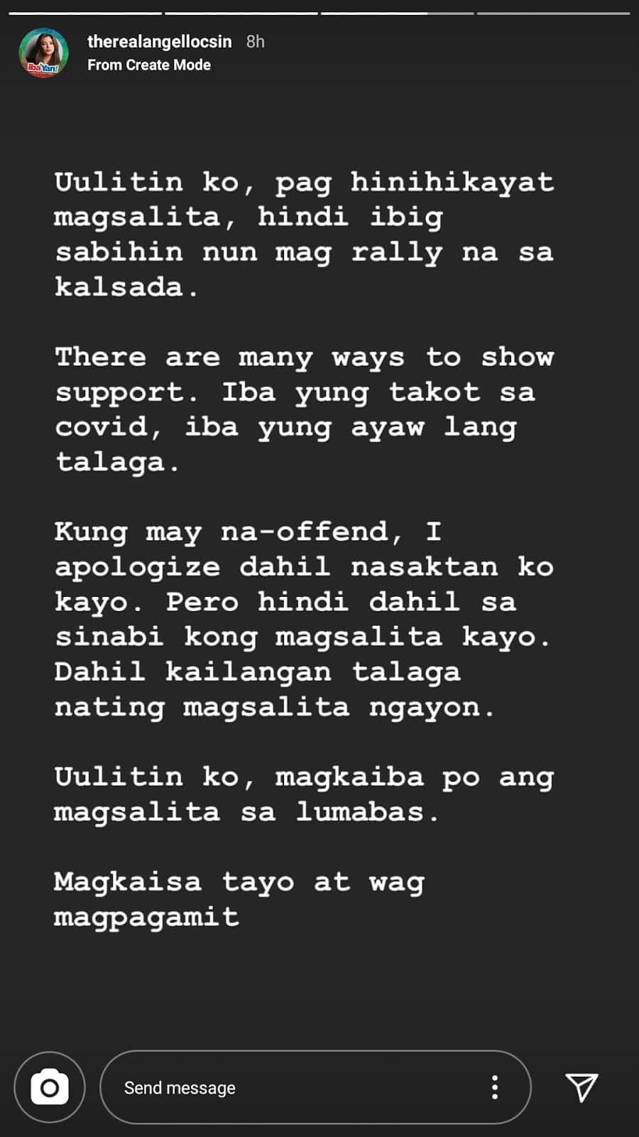 Angel Locsin comments on celebs who use COVID as reason for not speaking up