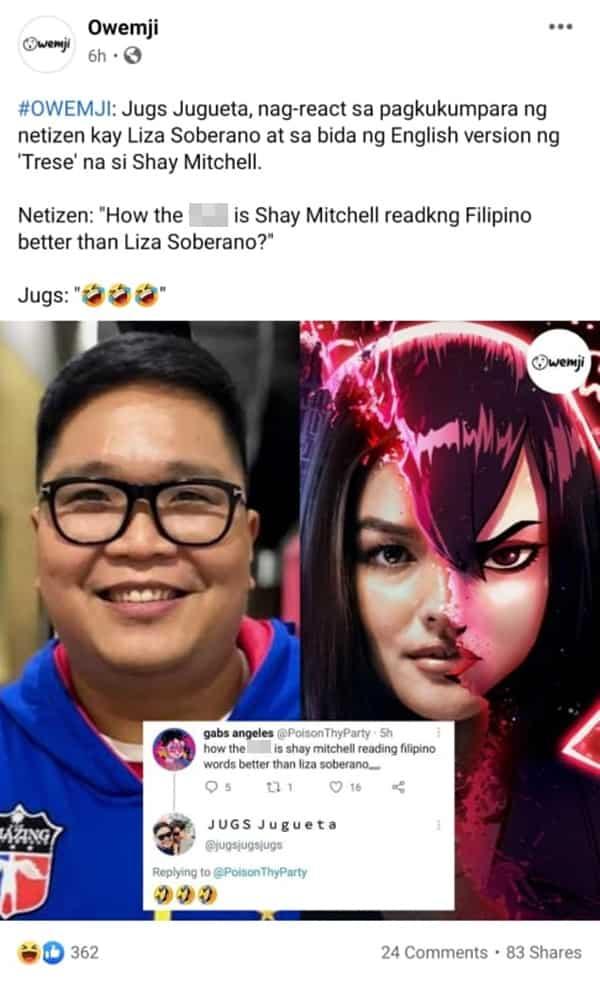 Jugs Jugueta reacts to netizen's post comparing Liza Soberano to Shay Mitchell