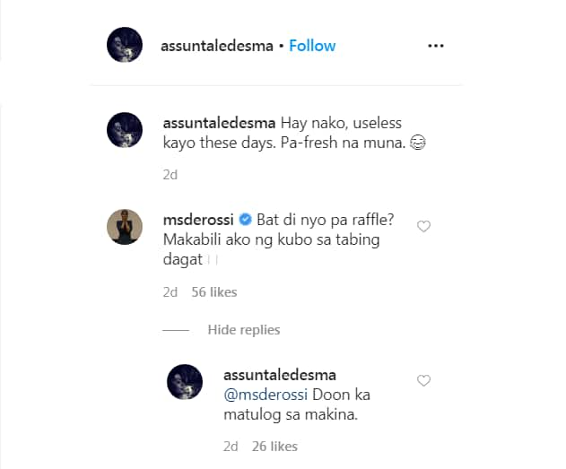 Alessandra De Rossi reacts to Assunta's post calling her luxury cars 'useless' amid lockdown