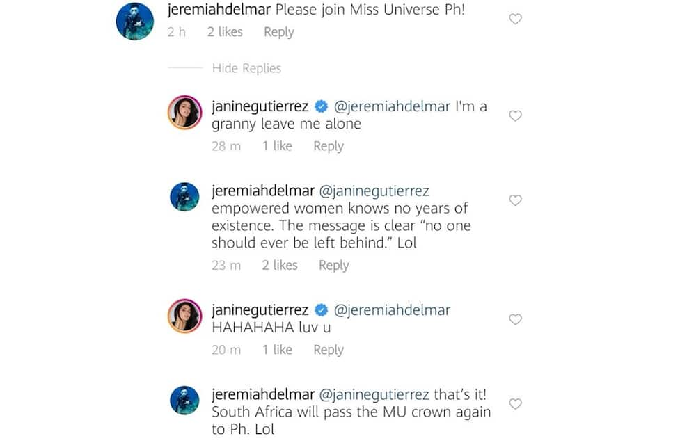 Janine Gutierrez reacts to request of a netizen for her to join Miss Universe PH