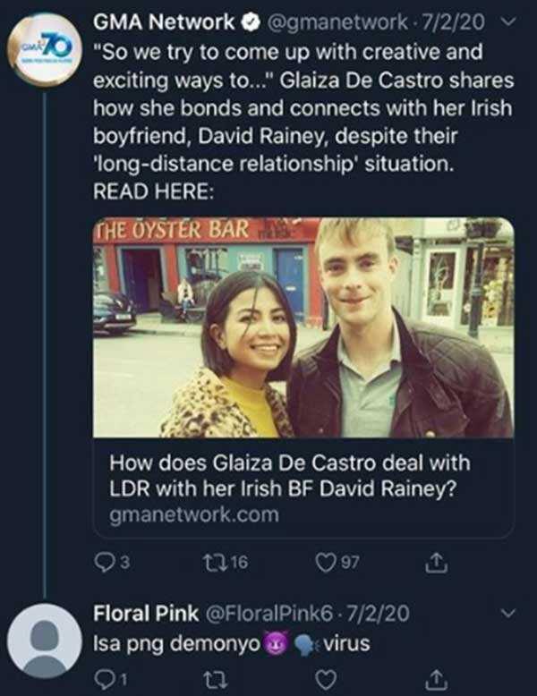"""Glaiza de Castro receives """"malandi"""" comment, """"demonyo"""" for Irish boyfriend, but gives the perfect retort"""