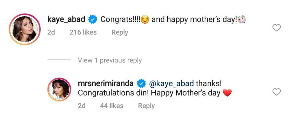 Kaye Abad and Neri Naig exchanged greetings and congratulatory messages on social media