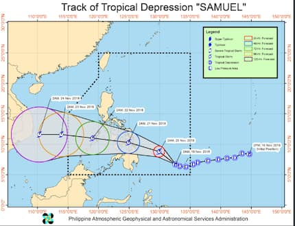 Signal no. 1 warning to 18 areas due to tropical depression 'Samuel'
