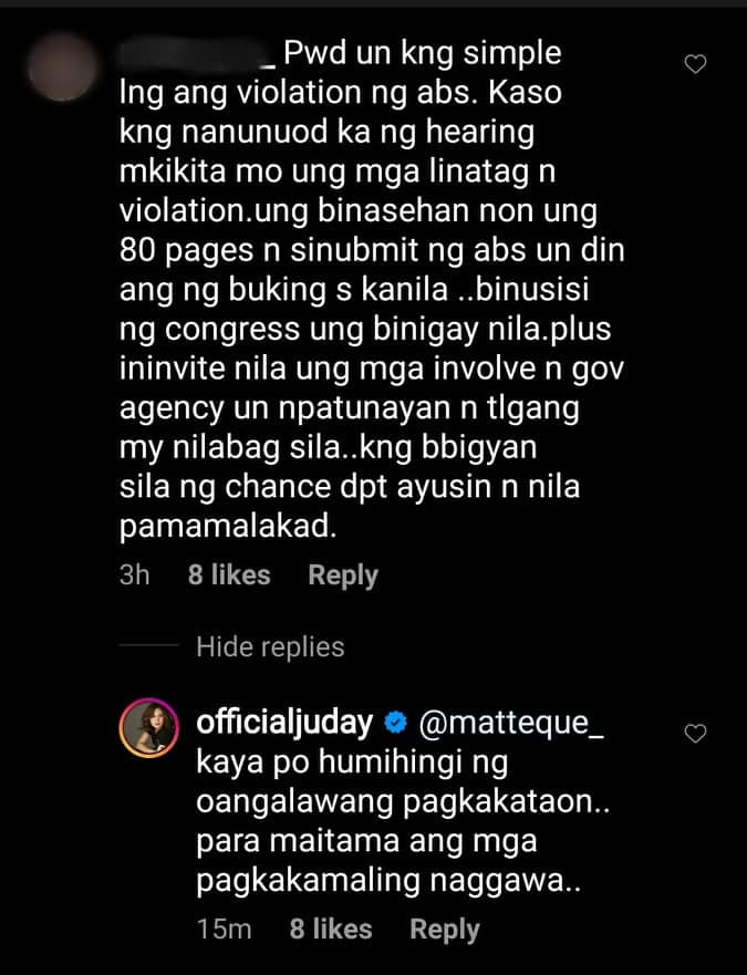 Judy Ann Santos' comment on the franchise renewal of ABS-CBN goes viral