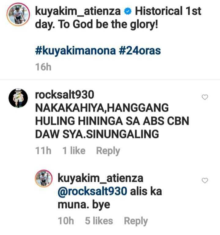 "Kuya Kim Atienza claps back at basher of his 1st day on 24 Oras: ""alis ka muna"""