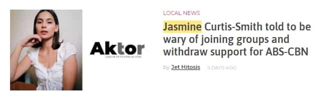 Jasmine Curtis-Smith, umalma sa misleading headline ng isang online magazine