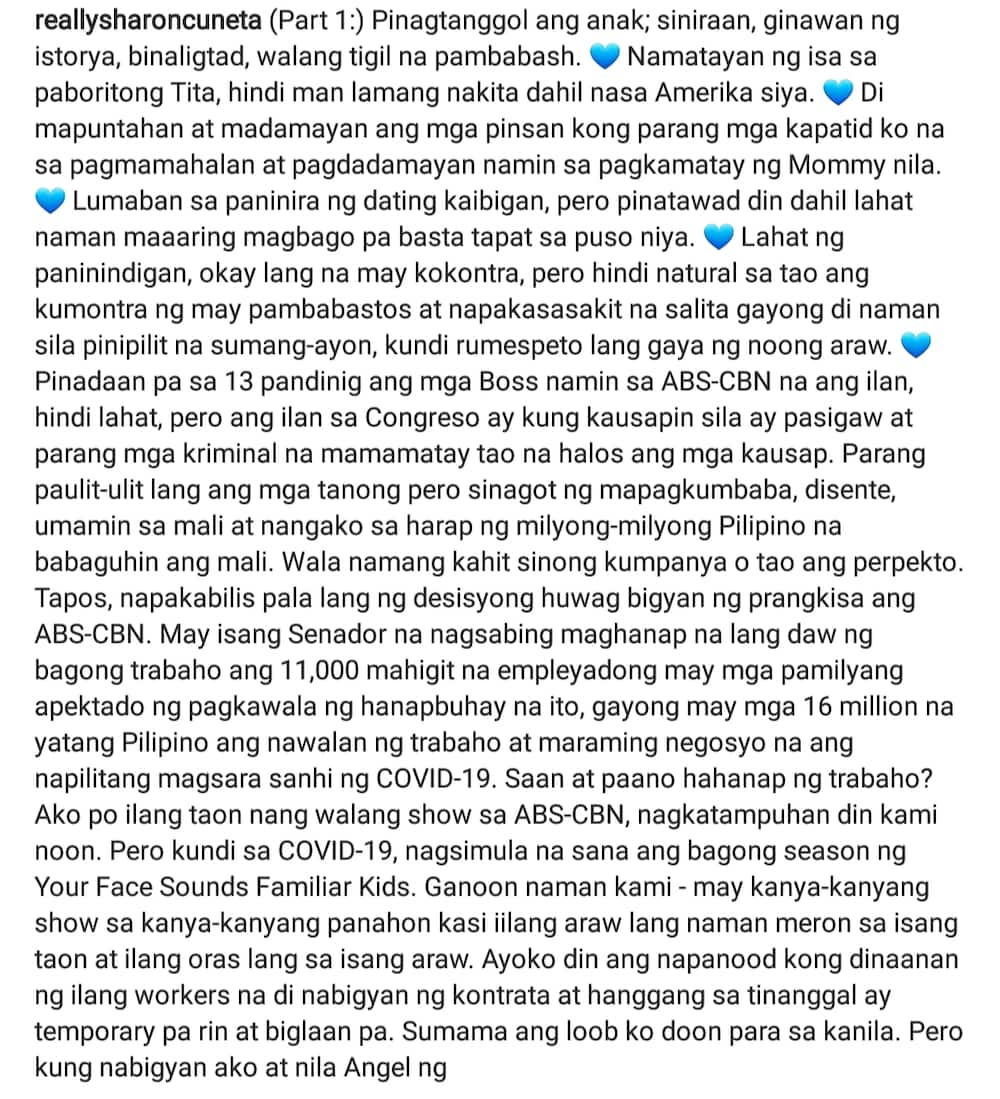"""Sharon Cuneta expresses frustration over treatment of ABS-CBN bosses during hearing, """"kung kausapin pasigaw"""""""