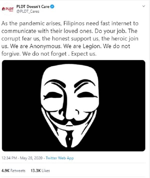 'PLDT Doesn't Care': PLDT official Twitter account gets hacked, group wants faster Internet