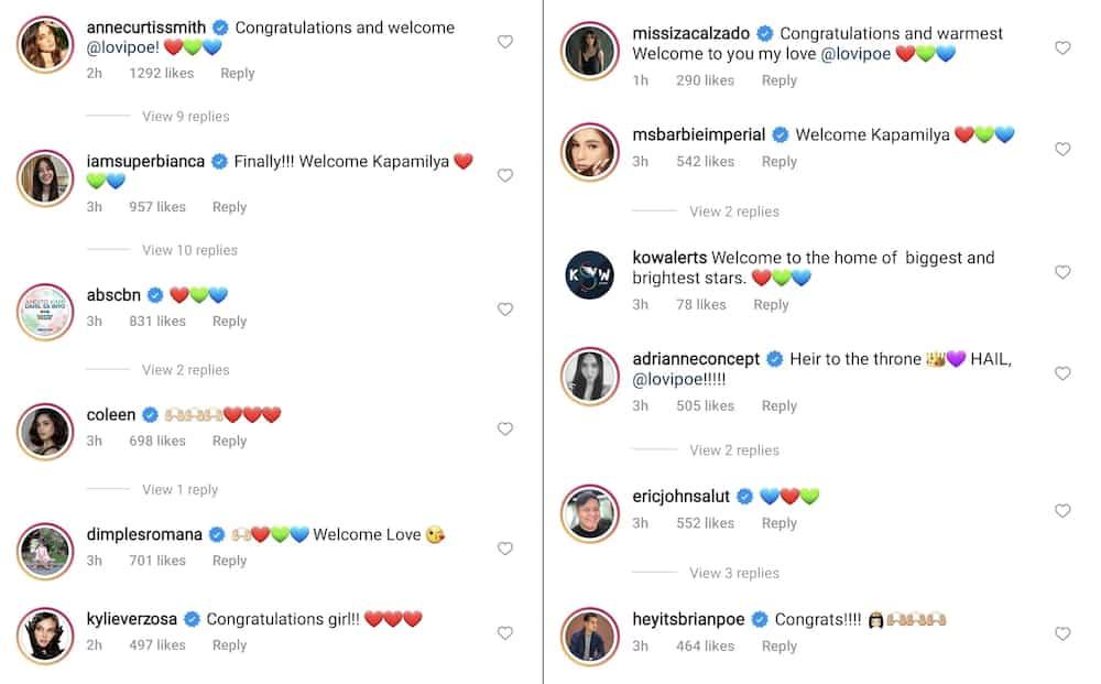 Celebrities congratulate and welcome Lovi Poe to the Kapamilya network