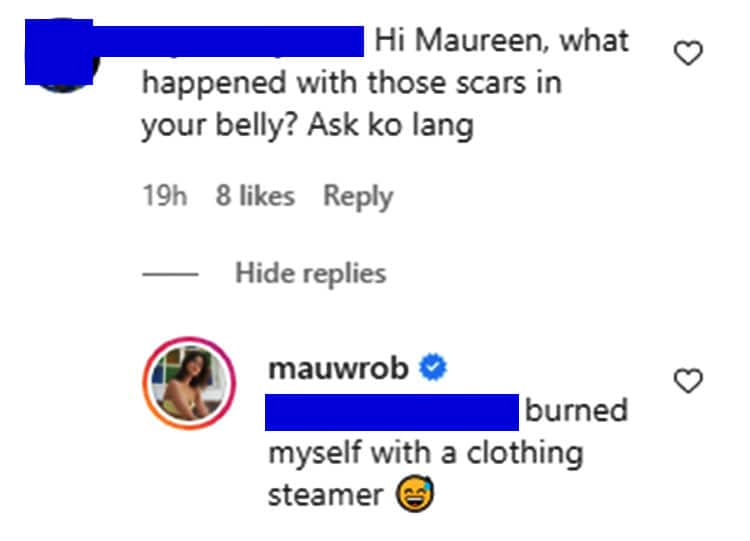 Maureen Wroblewitz gives classy response to curious netizen who asked about her belly scars