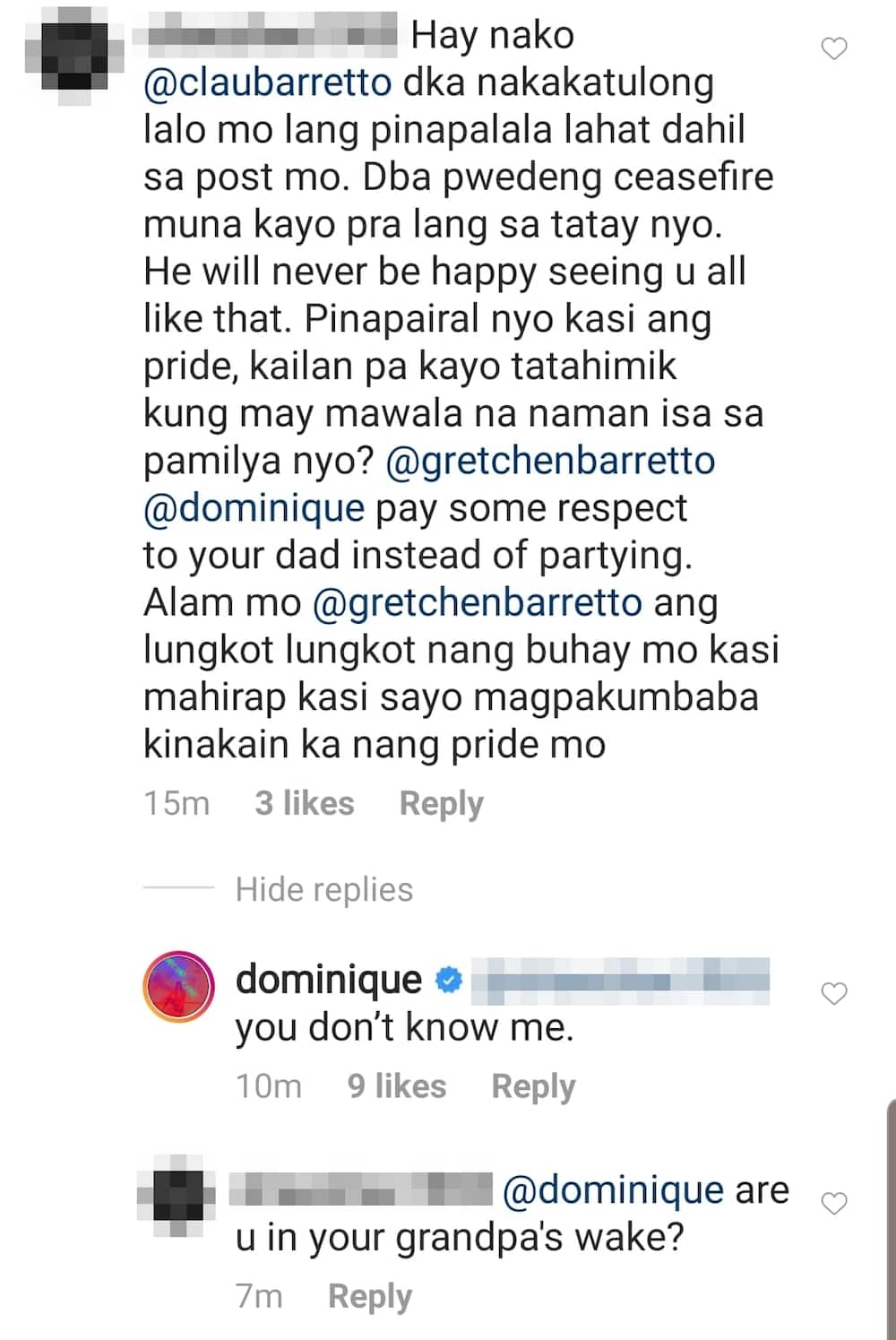 Dominique Cojuangco responds to netizen's strong opinion amid Barretto feud
