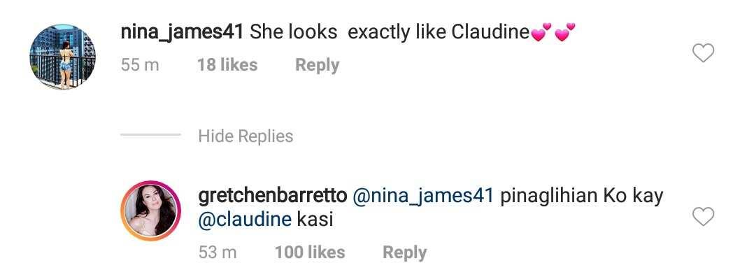 Gretchen Barretto reacts to netizen who compared Dominique to Claudine