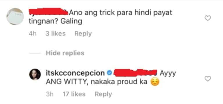 KC Concepcion, may nakakalokang reply sa komento ng isang netizen