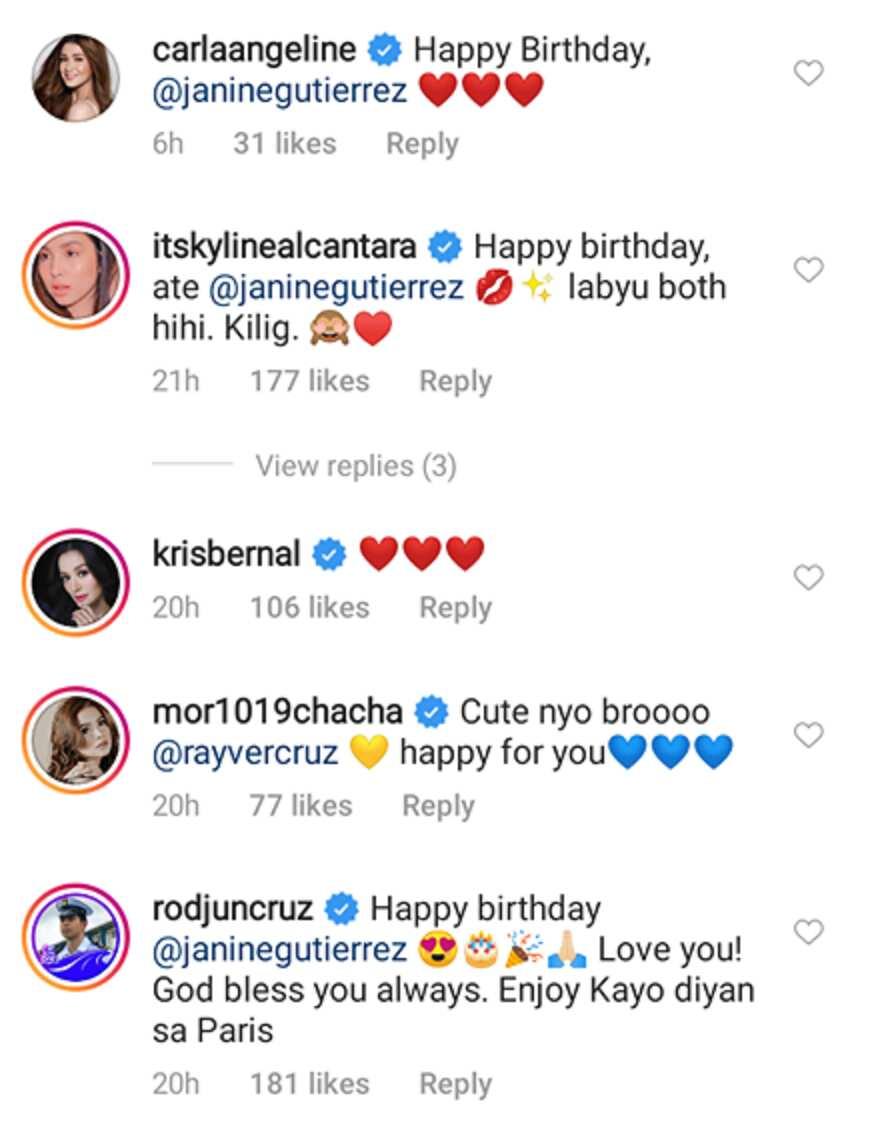 Kapamilya, Kapuso stars react to Rayver Cruz's 'kilig' post with Janine Gutierrez