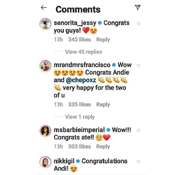 Celebrities congratulate Andi Eigenmann, Philmar Alipayo after announcing engagement