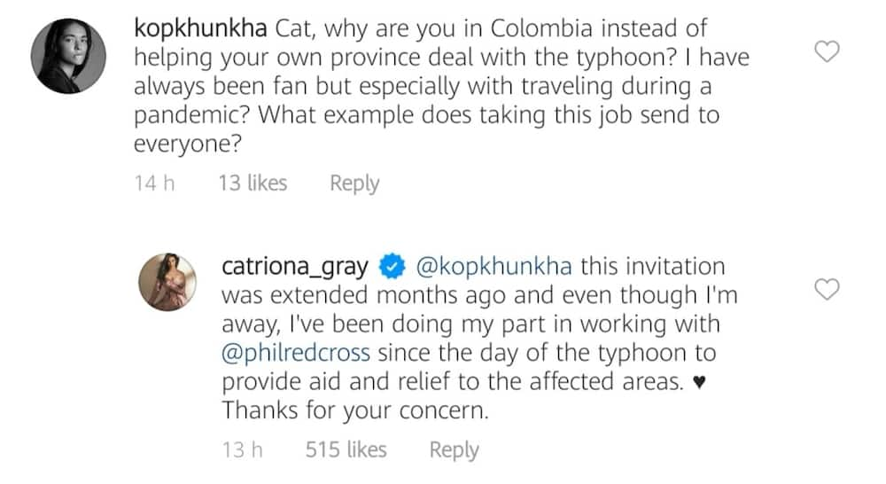 Catriona Gray defends herself to netizen criticizing her Colombia presence amid Typhoon Ulysses