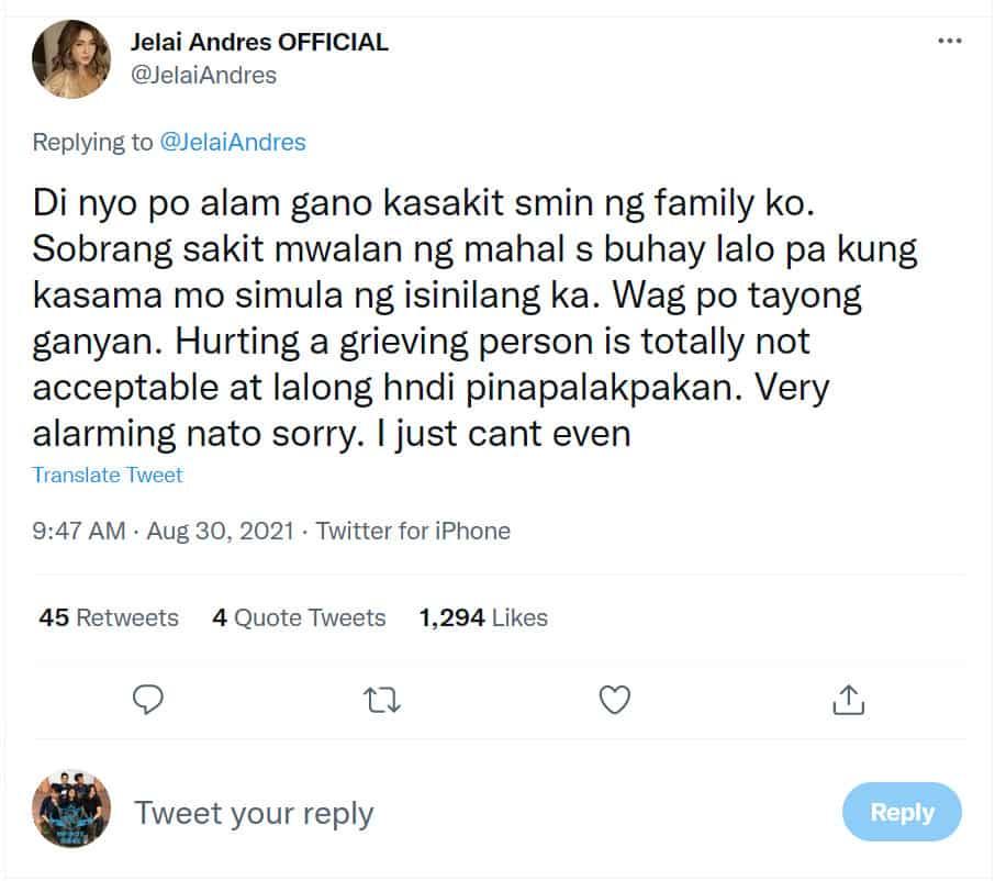 Jelai Andres, labis na nasaktan sa mga pang-iinsulto ng fans ni Jon Gutierrez sa kanyang pagluluksa