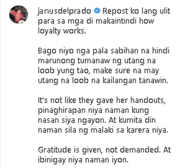 Janus del Prado, nagpasaring sa mga kumukwestiyon ng loyalty ng kaibigang si Bea Alonzo