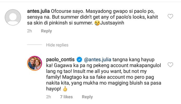 Paolo Contis curses at daughter's basher after below-the-belt comment on her pic