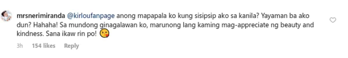 Neri Naig responds to a basher who called her 'sipsip sa mga artista'