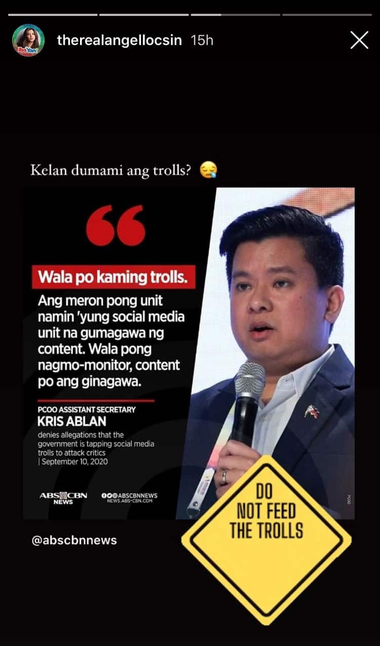 Angel Locsin strongly claps back at PCOO's 'no trolls' statement