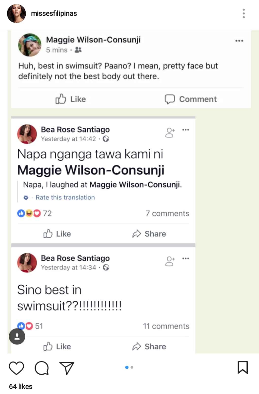 Boom basag! Pagbati nina Bea Rose Santiago at Maggie Wilson kay Catriona Gray, inalmahan ng netizens