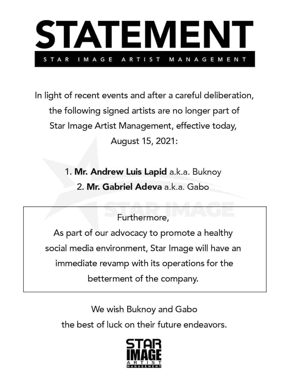 Buknoy Glamurrr at Gabo, hindi na parte ng Star Image Artist Management