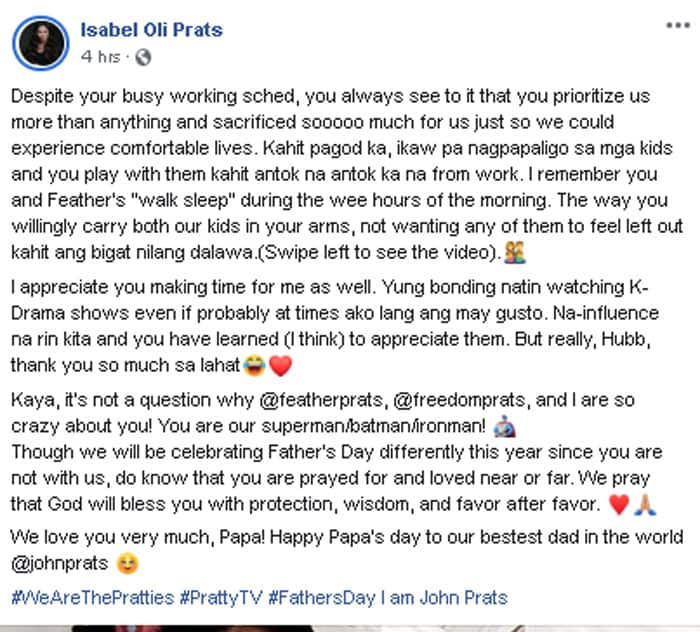 Isabel Oli's Father's Day message to John Prats shows the kind of father and husband he is