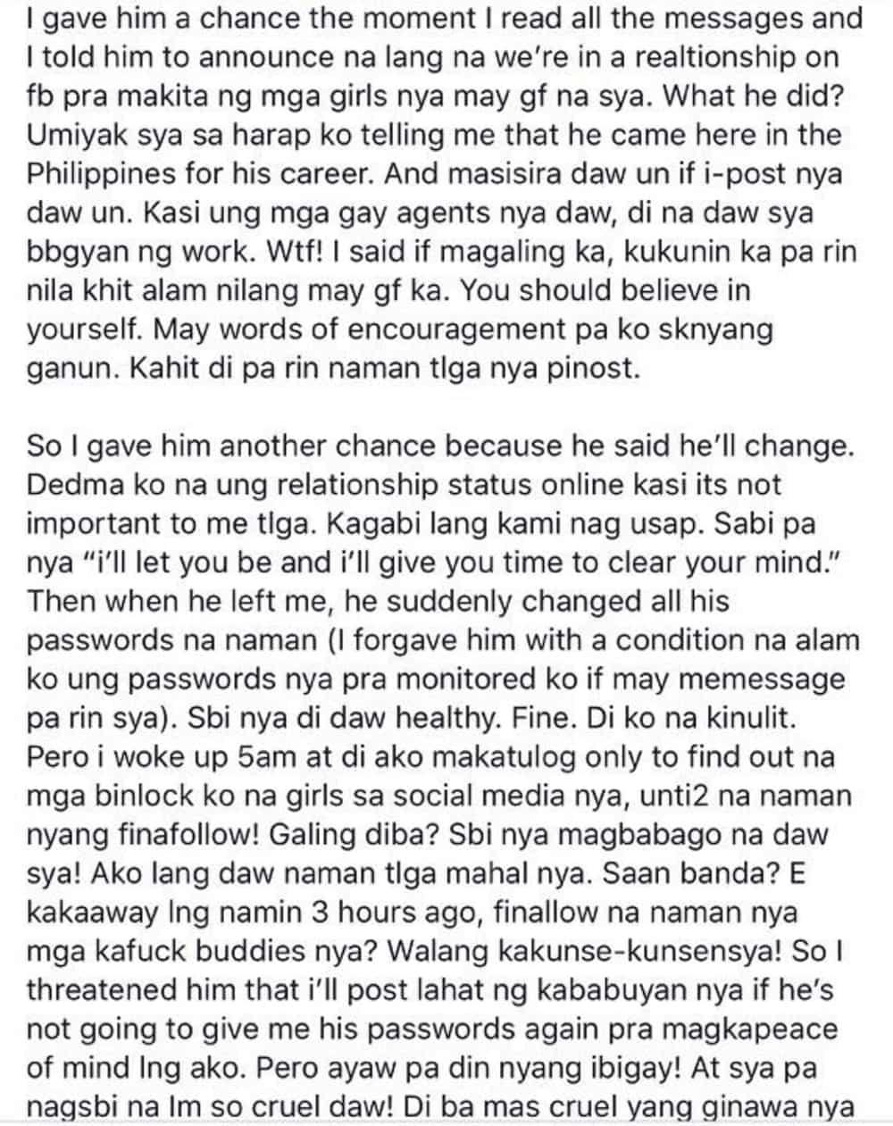 Arianne Bautista posts screenshots of messages regarding her cheating allegations against her ex-boyfriend