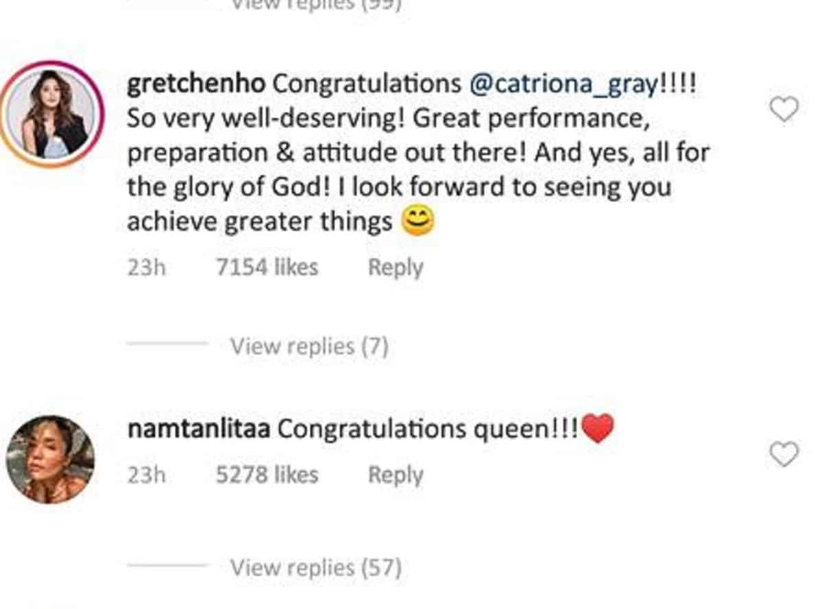 Pasasalamat ni Catriona Gray sa social media inulan ng komento mula sa mga celebrities