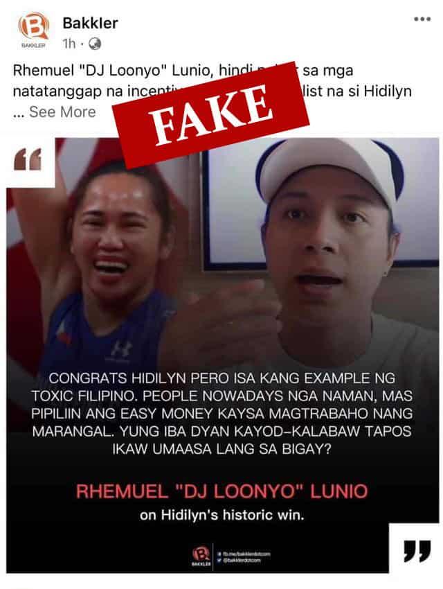 DJ Loonyo, umalma sa pekeng statement kay Hidilyn Diaz at sa mga naniwala dito