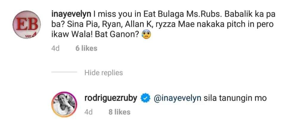 Ruby Rodriguez gets an office job amid prolonged absence on Eat Bulaga