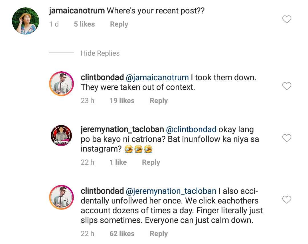Kalma lang daw! Clint Bondad speaks up on follow/unfollow incident with Catriona Gray