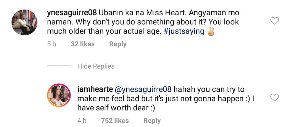 Heart Evangelista laughs off basher's comment about her looking 'older than her age'