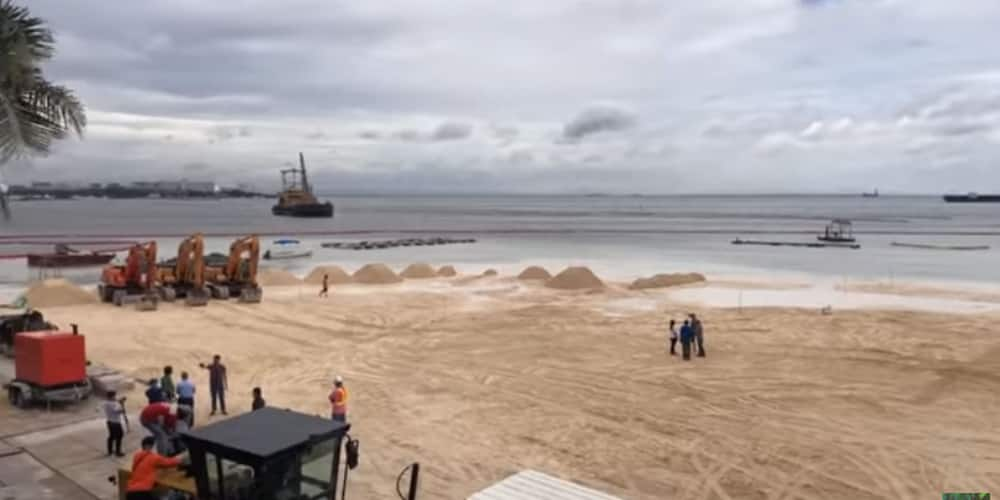 Video shows sea starting to encroach a portion of the dolomite sand in Manila Bay
