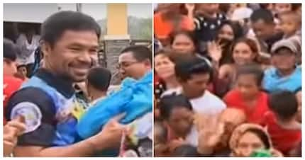Pamaskong handog! Manny Pacquiao treats 4,000 people to free groceries