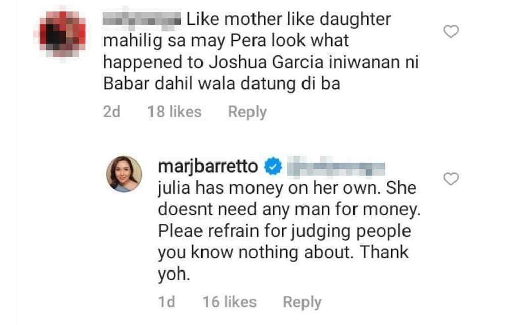 Marjorie Barretto, dinepensahan ang anak na si Julia Barretto mula sa mga bashers