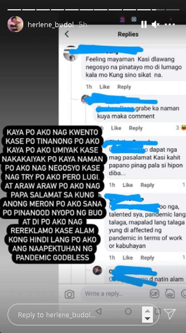 """Herlene Budol, rumesbak sa basher na sinabing siya'y """"feeling mayaman"""" pagkatapos ng ToniTalks"""