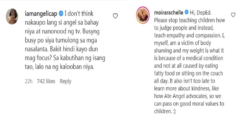 """Moira Dela Torre, Angelica Panganiban react to module """"body-shaming"""" Angel Locsin"""
