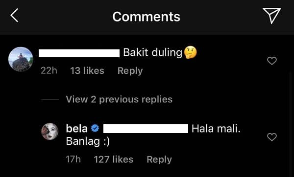 Bela Padilla claps back and corrects basher who called her 'duling'