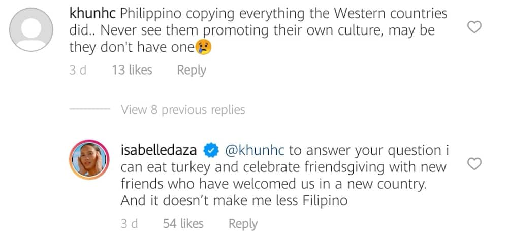 """Isabelle Daza slams """"Pinoys copying everything Western"""" comment on her Friendsgiving post"""