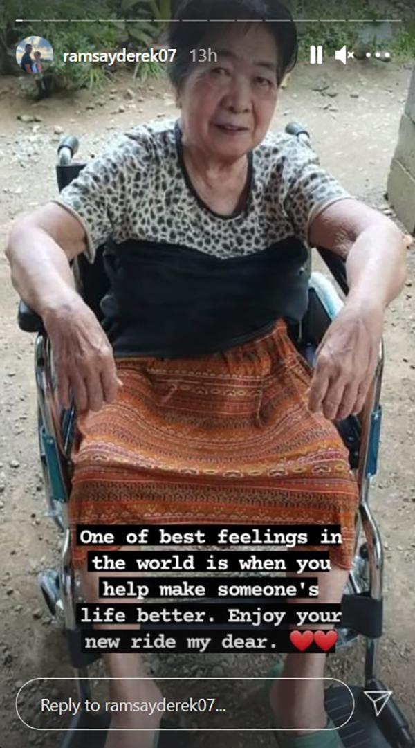 Derek Ramsay, nagbigay ng wheelchair sa isang senior citizen