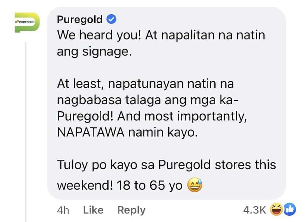 """Puregold, napalitan na ang viral poster na nagsasabing bawal pumasok ang """"16-65 anyos"""""""