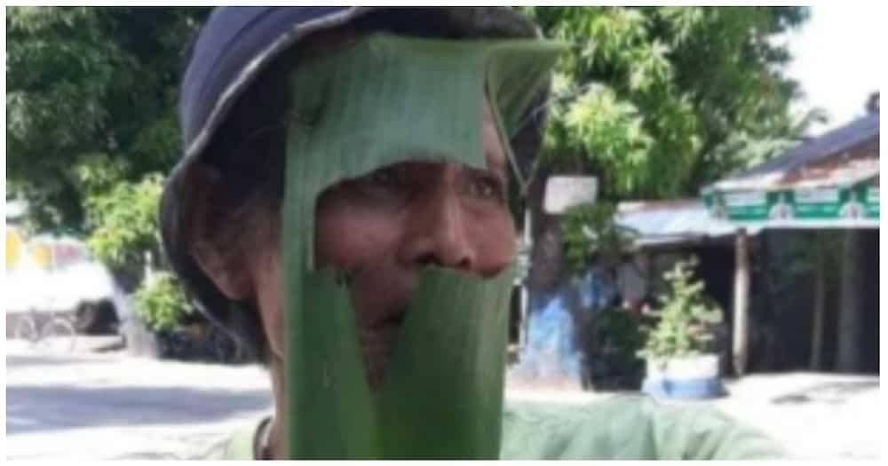 Lolo na dahon ng saging ang ginawang face shield, pinagmalasakitan ng mga pulis