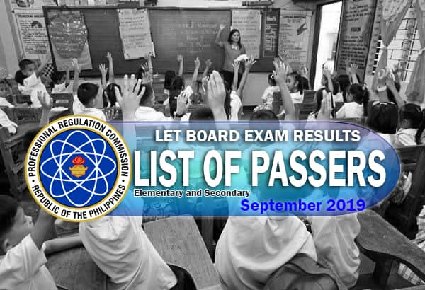Results are in: September 2019 Complete List of LET Passers