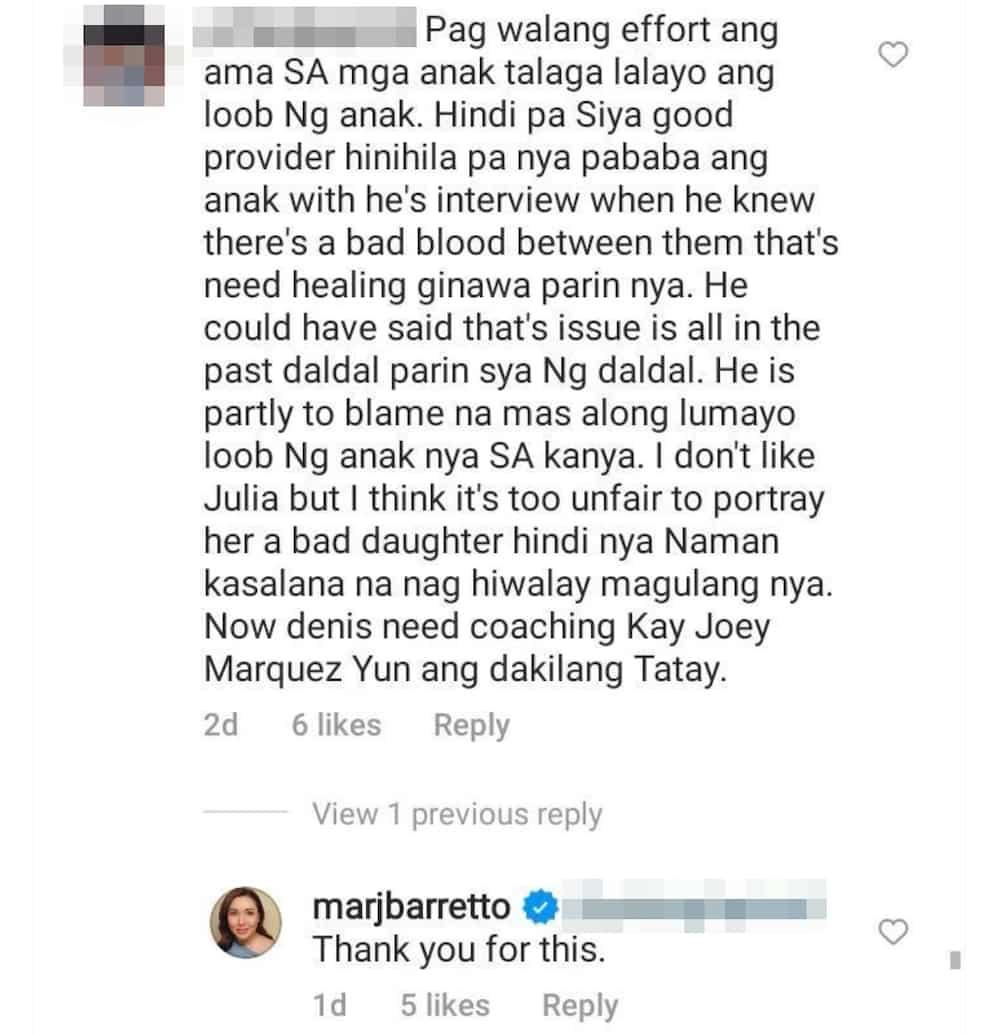 "Marjorie Barretto, nagpasalamat sa netizen na nagsabing ""partly to blame"" din si Dennis Padilla"